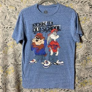 LOONEY TUNES Men's Small Blue Graphic Tee